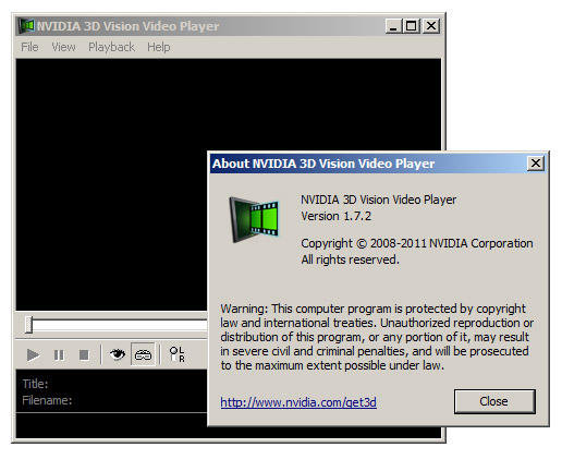 Windows 7 NVIDIA 3D Vision Video Player 1.7.5 full